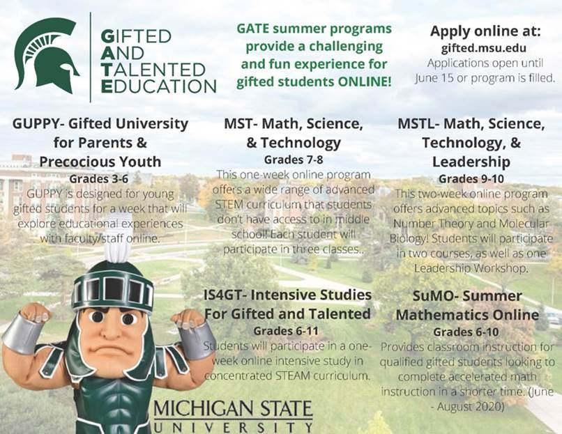 Listing of all MSU GATE online summer programs